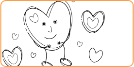 Coloring page of the Safe Secure Kids Logo featuring the Heart Character