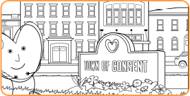 Coloring page with heart standing in front of the town of consent
